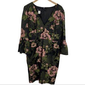 FRASCARA Black Pink Green Floral Jacquard Dress